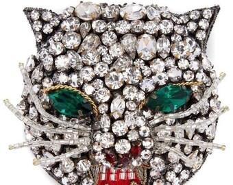 b79997c127d GUCCI Feline Blinding Crystal Encrusted Cat Head Brooch Pin!