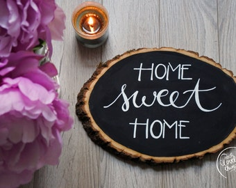 Home Sweet Home Basswood Wall Art   Home Decor   Rustic Wall Art   Handmade Wall Art   Chalk Sign Home Decor