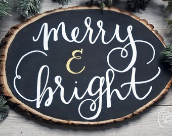 Merry & Bright Basswood Wall Art   Christmas Quote Wall Art   Christmas Wall Art   Merry and Bright Quote