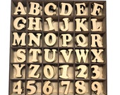 Wood letters numbers - Ready to decorate and personalise - 4cm high - Bare wood