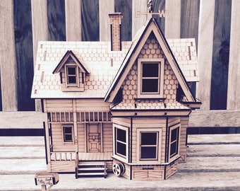 Doll house kit etsy up house detailed mdf model kit diy solutioingenieria Choice Image