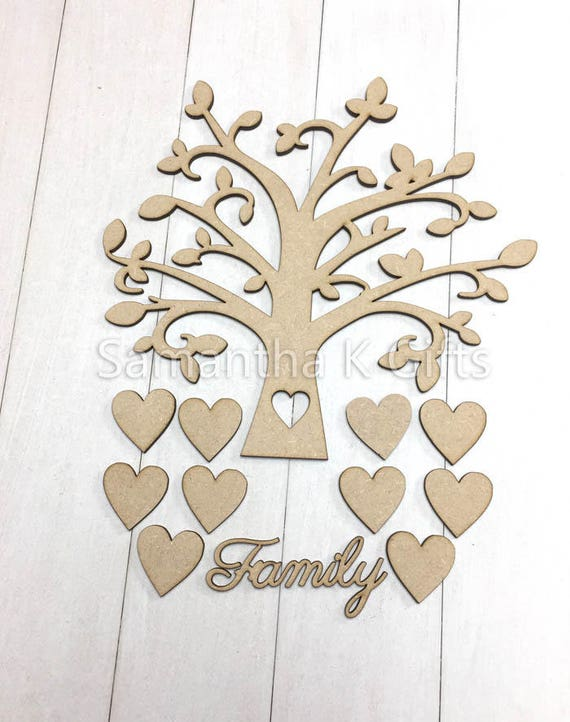 family tree create your own frame with hearts family etsy