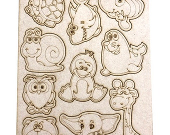 Wooden A4 cute animals DIY colouring pop out sheet - Perfect for weddings and parties!