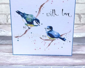 Bird Blue tit Personalised  Valentines love card