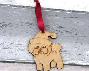 Bichon Frise - Christmas tree hanging decoration Unpainted
