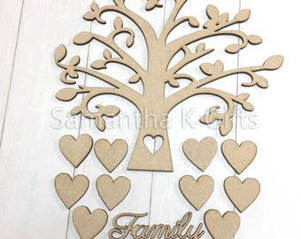 SPECIAL OFFER - Family Tree Set MDF Wooden Wedding Guestbook Laser Cut Craft Blank Shape 15x16cm