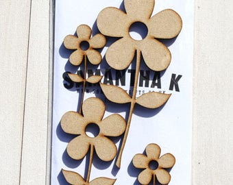 Cartoon style flowers mixed media MDF - 4 pack