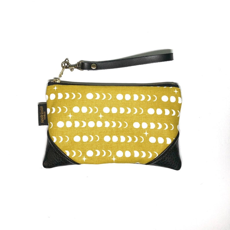 Mini Mustard Mahina Moon Phase Zipper Pouch  Clutch with inside lining and Zipper Pull or Leather Wristlet Strap