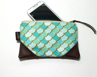 Mini Golden Teal Mermaid Zipper Pouch / Clutch with inside lining and Zipper Pull or Leather Wristlet Strap