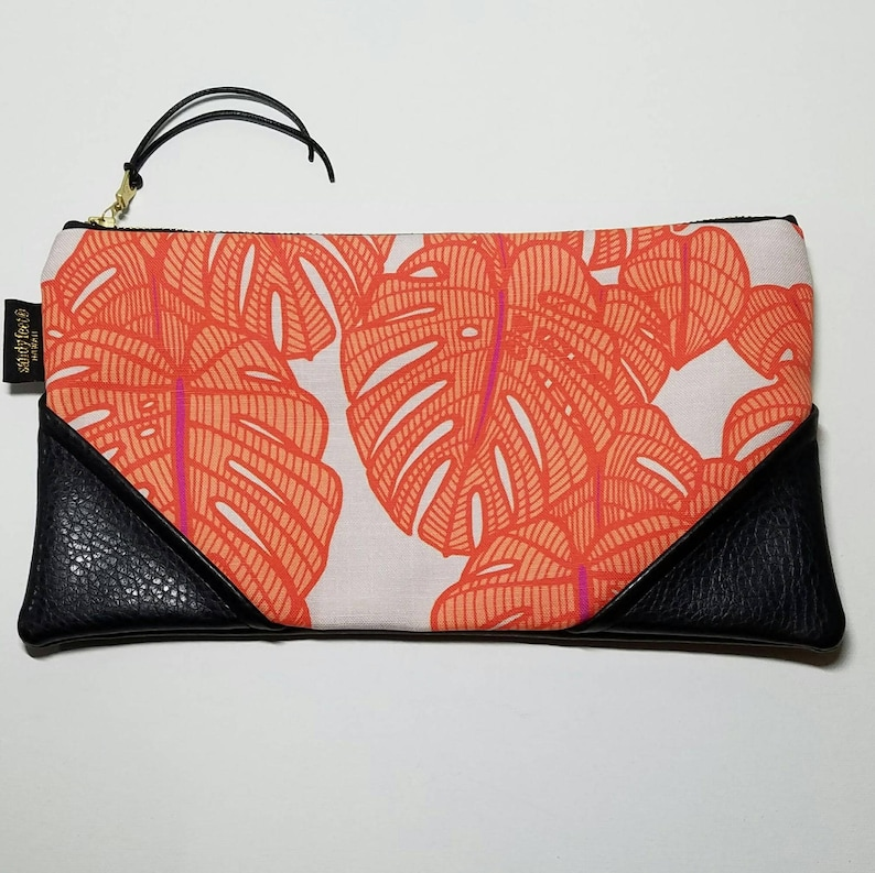 Large Orange Monstera Zipper Pouch / Clutch with inside lining image 0