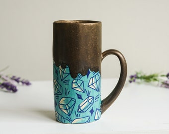 Ceramic Bronze Sgraffito Carved Gem Crystal Mug With Handle Turquoise Pottery Cup Handmade