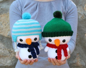 PATTERN: Cuddle-Sized Snowman Amigurumi, Crocheted Snowmen Pattern, Snowman Toy Tutorial, PDF Crochet Pattern, Holiday Winter Crochet