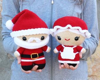 PATTERN: Cuddle-Sized Santa Claus & Mrs. Claus Amigurumi, Crocheted Pattern, Santa Toy Tutorial, PDF Crochet Pattern, Holiday Winter Crochet