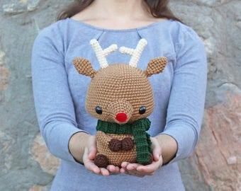 PATTERN: Cuddle-Sized Reindeer Amigurumi, Crocheted Rudolph Red-Nosed Reindeer, Toy Tutorial, PDF Crochet Pattern, Holiday Winter Crochet