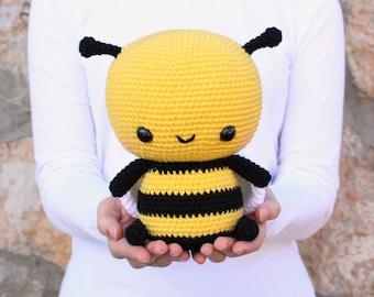 PATTERN: Cuddle-Sized Bumble Bee Amigurumi, Crocheted Honey Bee Pattern, Bee Toy Tutorial, PDF Crochet Pattern