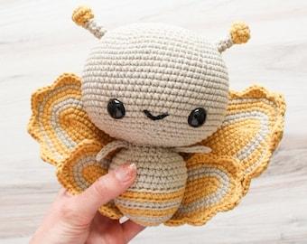 PATTERN: Cuddle-Sized Butterfly Amigurumi, Crocheted Butterfly Pattern, Moth Toy Tutorial, PDF Crochet Pattern