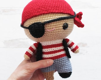 PATTERN: Cuddle-Sized Pete the Pirate Amigurumi, Crocheted Sailor Pattern, Pirate Toy Tutorial, PDF Crochet Pattern