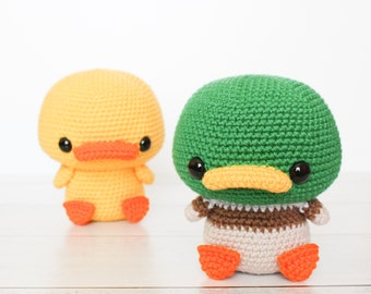 PATTERN: Cuddle-Sized Duck and Mallard Duck Amigurumi, Crocheted Duckling, Bird Toy Tutorial, PDF Crochet Pattern