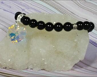 Black Onyx Swarovski Heart Bracelet  -  Releases negative energies                                    001544