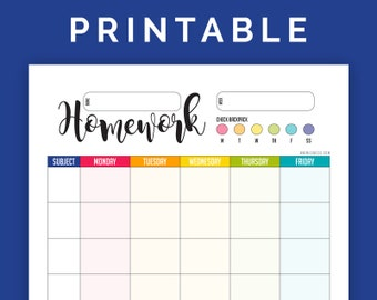 Homework Chart - Printable PDF - portrait, letter size