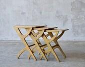 Vintage Plywood Nesting Tables