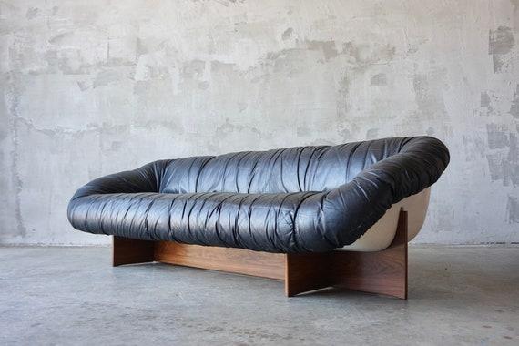 Percival Lafer Leather & Fiberglass Sofa