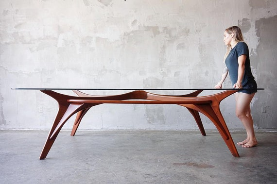 Massive Sculpted Walnut Table