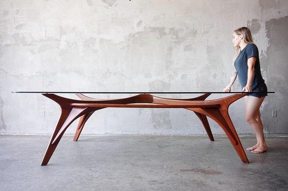 Massive Sculpted Walnut Table