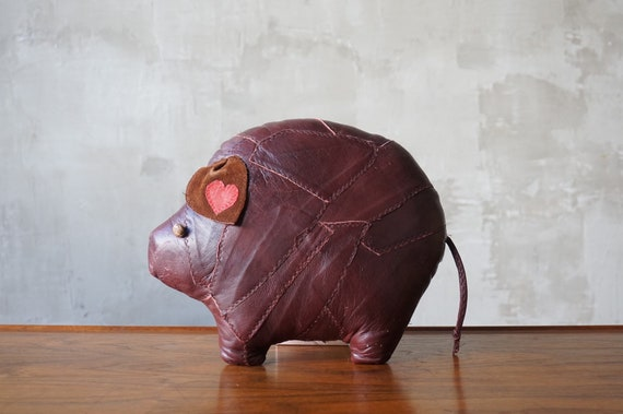 Hand-Made Leather Pig Pillow