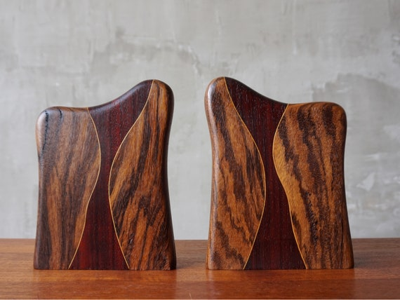 Handmade Exotic Wood Bookends.