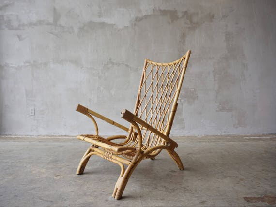 Exaggerated Wingback Bamboo Lounge Chair.