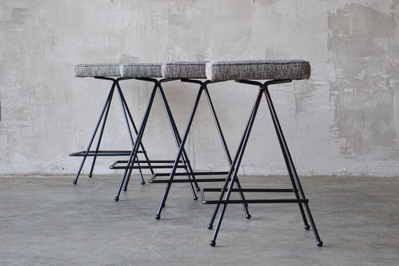 Set of 4 Iron Counter-Height Stools.