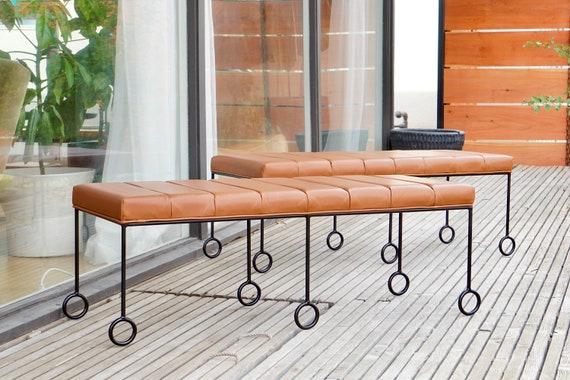 Custom Iron & Leather Benches