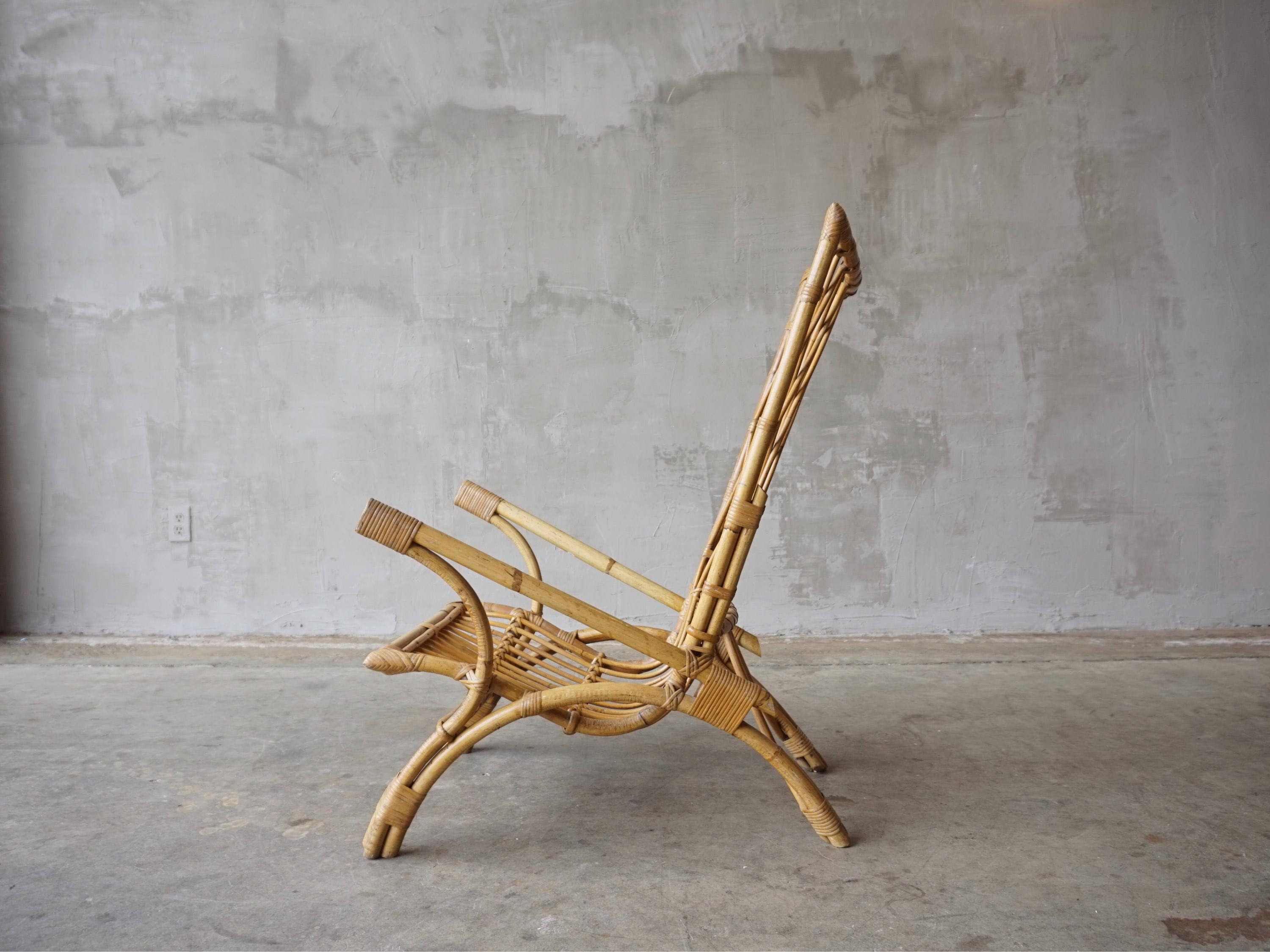 Exaggerated Wingback Bamboo Lounge Chair