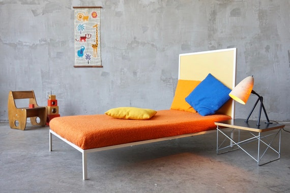 Steel Framed Modernist Childs Bed.