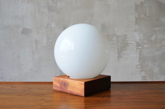 Teak and Glass Globe Lamp.