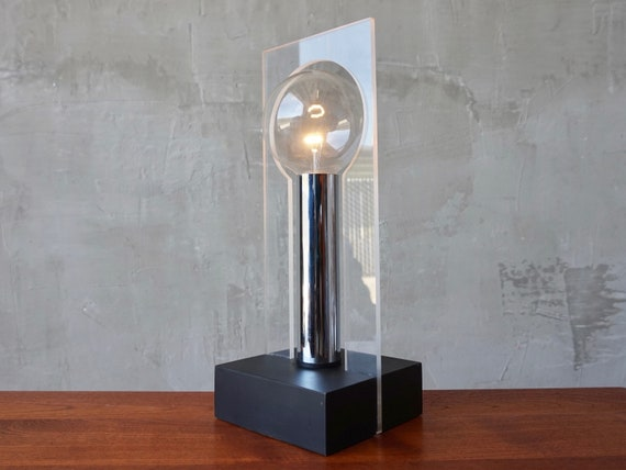 Lucite & Chrome Table Lamp.