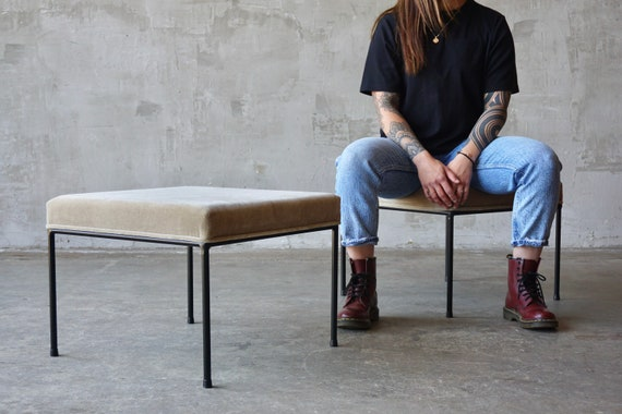 Iron & Mohair Upholstered Stools