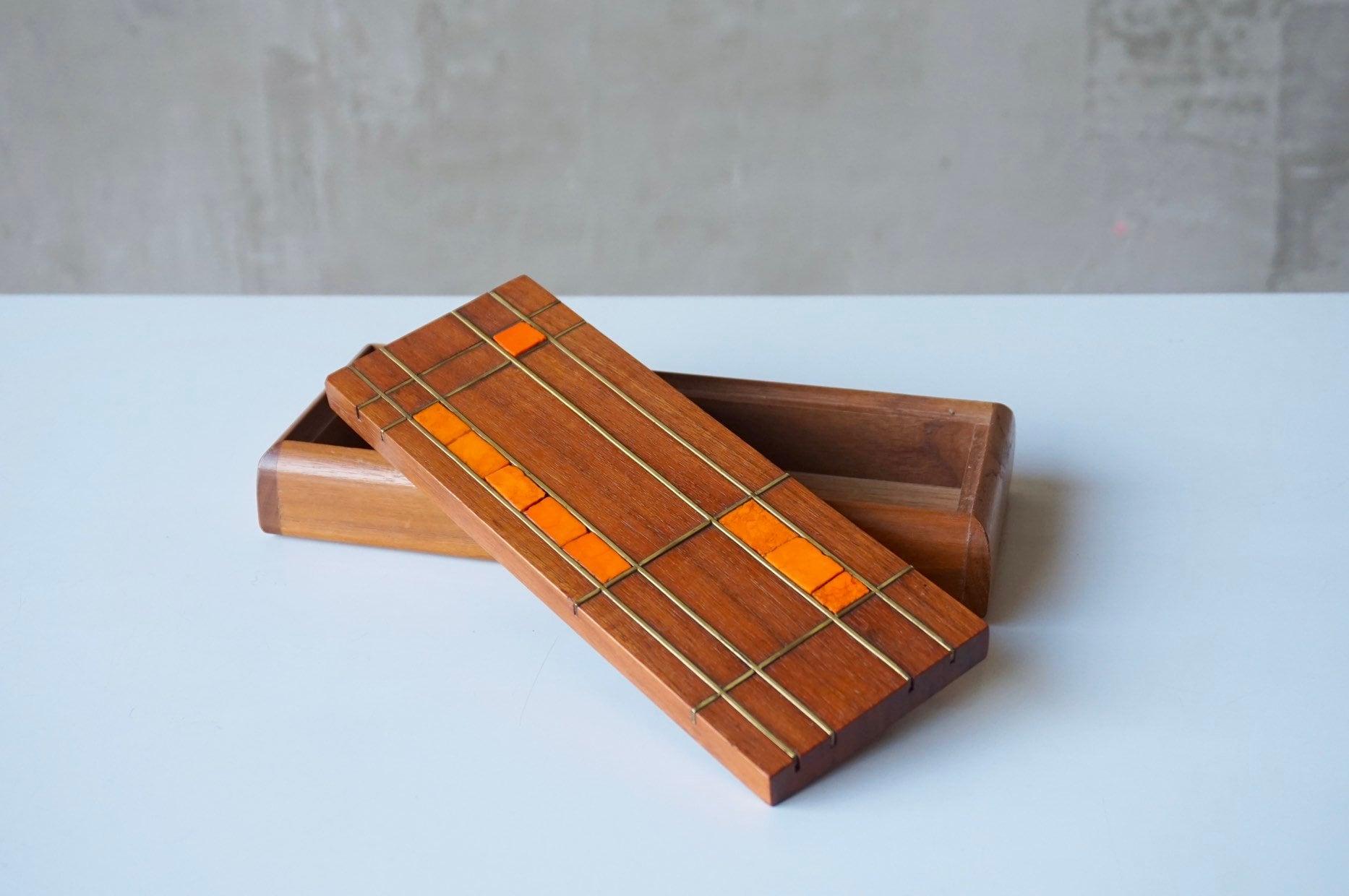 Walnut, Brass & Mosaic Trinket Box