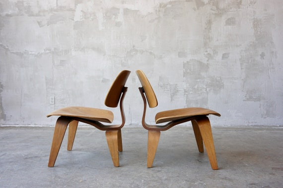 Early Pair of Eames 'LCW' Chairs