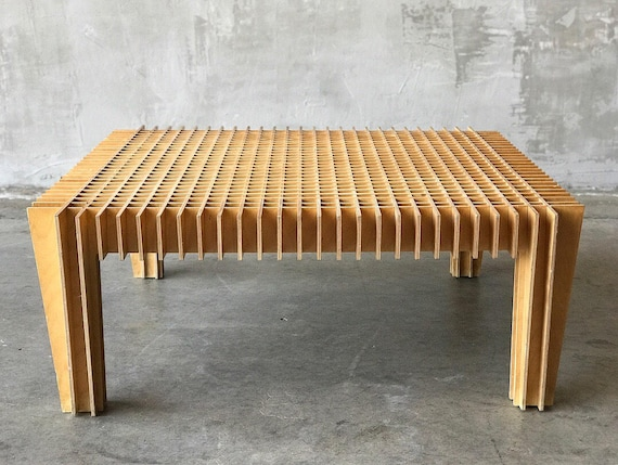 Plywood Grid Cocktail Table.