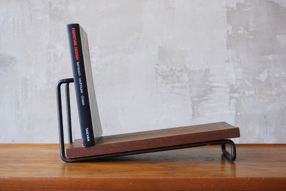 Iron & Mahogany Modernist Bookshelf