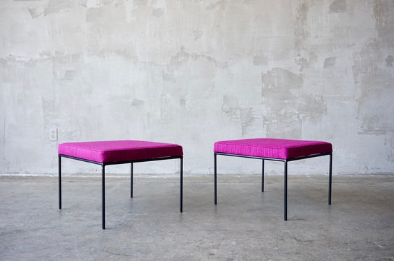 Upholstered Iron Stools/Ottomans