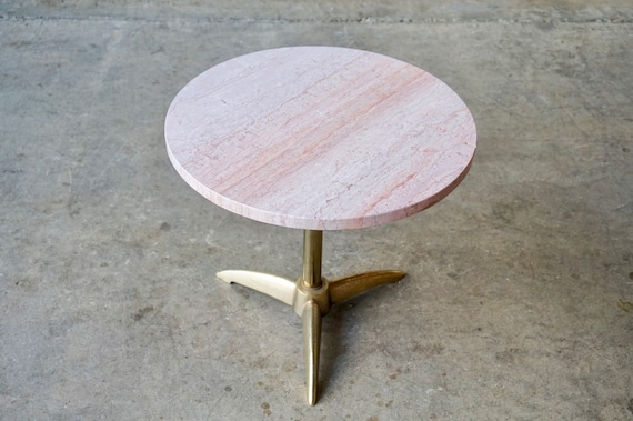 Marble and Brass Occasional Table