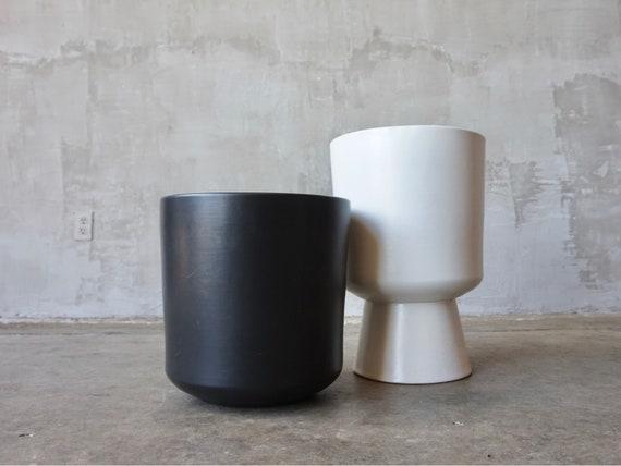 Black Architectural Pottery Planter.