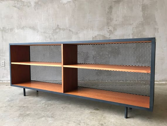 Iron and Mahogany Bookshelf/Media Console.