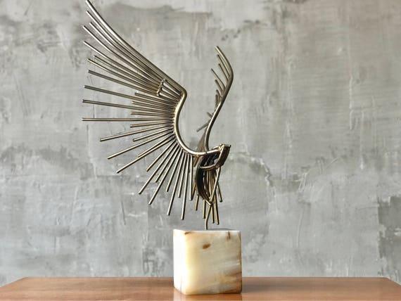 Curtis Jere Brass & Marble Sculpture.