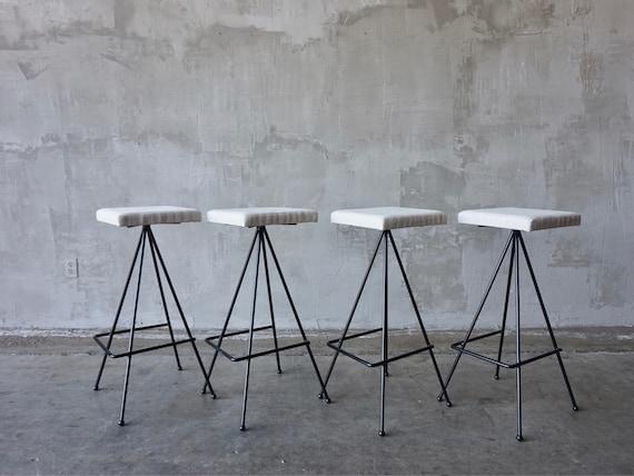 Set of 4 Iron Barstools.