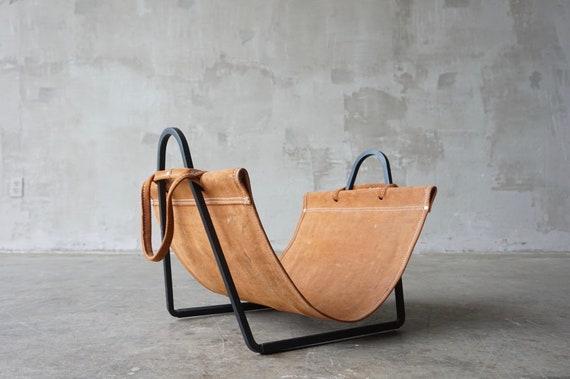 Leather & Iron Log or Magazine Holder
