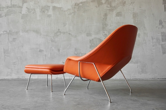 Knoll Leather Womb Chair & Ottoman.